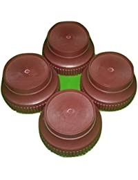 H-Store Plastic Round 4-Pieces Almirah, Bed, Wardrobe, Refrigerator Stand, Multi-Purpose Stands (Brown)