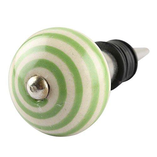 indianshelf handgefertigt Pea grün gestreift Keramik Maschinen Wein Flasche Cover Gummi Stopper Metall Gap Online Standard grün
