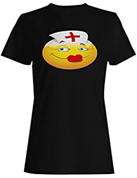 Smiley, enfermera, rojo, labios, cara, novedad, divertido, vintage, arte camiseta de las mujeres a302f