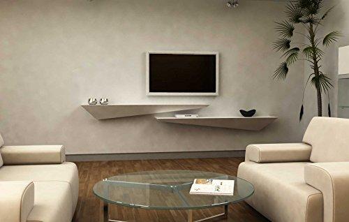 Mensola porta TV a muro parete - legno laccato bianco opaco - destra 110x30