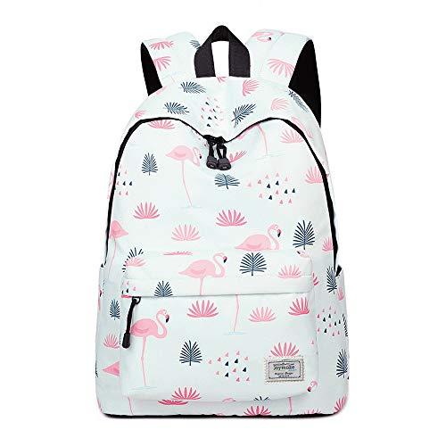 Joymoze Modischer Freizeitrucksack für Mädchen Jugendliche Schulrucksack Frauen Aufdruck Rucksack Geldbeutel Flamingos