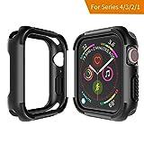 Seiaol Für Apple Watch 4/3/2/1 Hülle, [Rugged Armor] TPU Case für Apple Watch Series 4/3/2/1 [Schwarz] Elastisch Ultimativ Schutz vor Stürzen & Stößen - Schutzhülle für iWatch