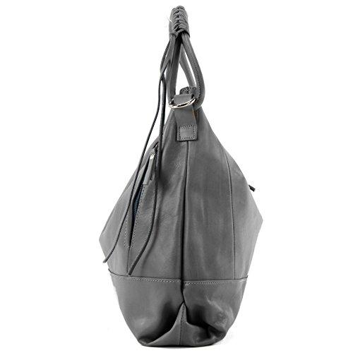 modamoda de - ital. Ledertasche Damentasche Handtasche Schultertasche Nappaleder W35 Dunkelgrau