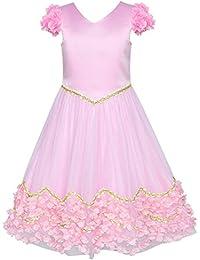 95a0d7be9a21 Sunny Fashion Vestito Bambina Fiore Rosa Floreale Nozze Damigella d Onore  Festa 6-12