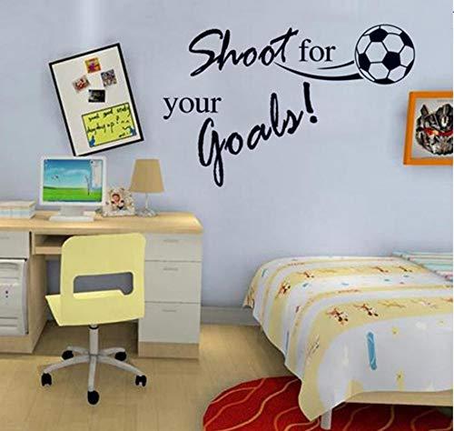 Schießen Sie für Ihre Ziele inspirierende Zitate Fußball Wandaufkleber für Kinderzimmer Wohnzimmer Jungen Schlafzimmer Dekor Wandkunst Aufkleber 44 X 57 cm - Fußball Inspirierende