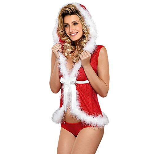 XIADE Sexy Santa Claus Kostüm 2-teiliges Set für Erwachsene Frauen Hoodie Tops Christmas Fantasy - Weihnachten Fantasy Sexy Santa Kostüm Frauen