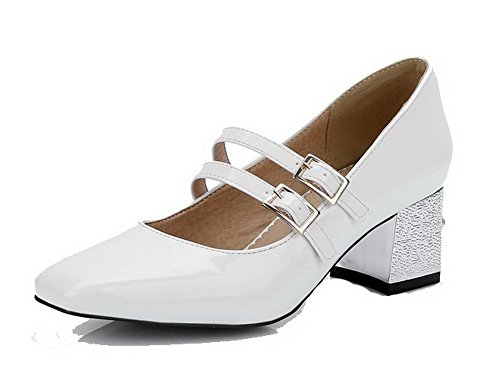 VogueZone009 Damen Schnalle Schnalle Schnalle Lackleder Quadratisch Zehe Mittler Absatz Rein Pumps Schuhe Weiß  [B06XRCLQR6] bb0536