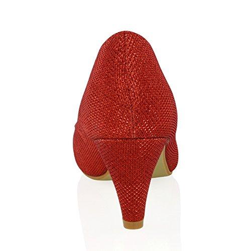 ESSEX GLAM Scarpa Donna Sposa Sera Glitter Tacco Basso Senza Allacciatura Rosso Glitter