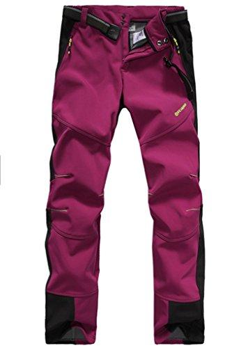 Micosuza Damen Fleece Wanderhose Winddicht Wasserdicht Softshell Outdoorhose, Kastanienbraun, EU S = Tag L