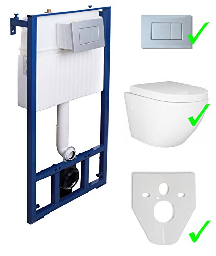 Domino Vorwandelement Eco-50 inkl. Drückerplatte chrom matt + Wand WC Sofi ohne Spülrand + WC-Sitz mit Soft-Close-Absenkautomatik
