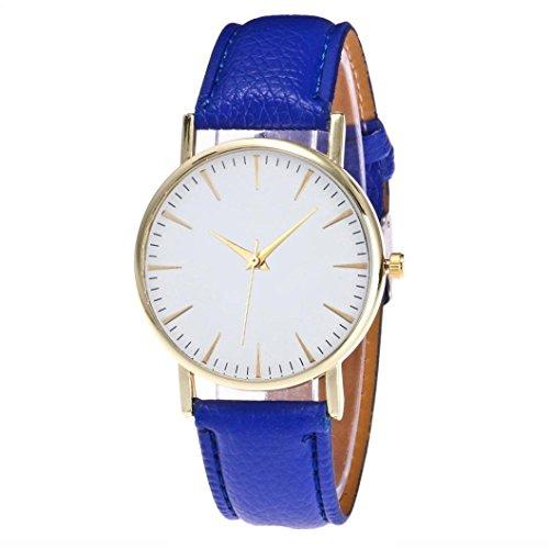 OdeJoy Mode FreizeitFrau Leder Quarz Uhren Damenuhren EinfachArmbanduhren Digitaluhren Rose Gold Armband Kinderuhren Mädchen Armbanduhr Vintage Watch Sportlich Uhren (Blau,1 PC)