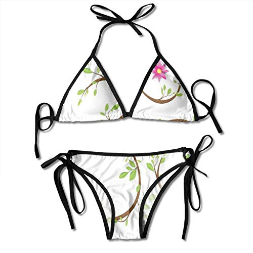 Women's Swimsuit Two Pieces Bikini Set, Mystical Symbol with Twigs Full of Green Leaves and A Pink Blossom Spiritual Floral,Swimwear Bathing Suits -