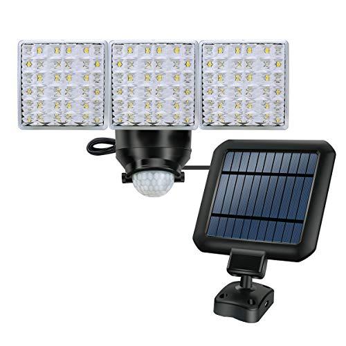 Solarbetriebene Sicherheits-Außenleuchten, 1800LM Superhelle Bewegungssensor Leuchten, 3 Verstellbare Lichtköpfe mit 66 LED-Leuchten für Garten, Hof, Garage usw.