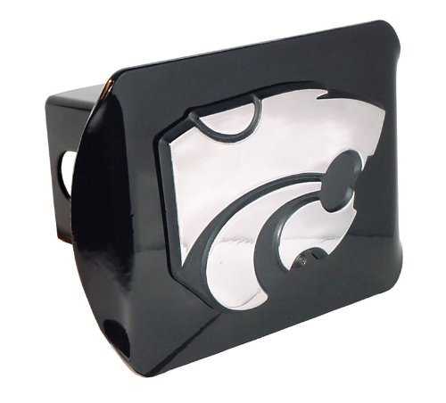 Kansas State Wildcats Black with Chrome Powercat Emblem Metal Trailer Hitch Cover Fits 2 Inch Auto Car Truck Receiver with NCAA College Sports Logo - Cover Receiver Hitch