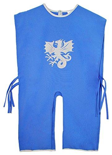 Ritter Tunika für Kinder mit Wappen Drache Blau (Ritter Drache Kostüme Kinder)
