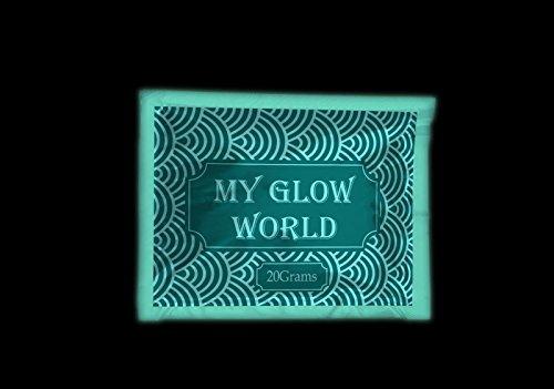 CrystalsRus Professional Grade 100Gramm-Glow in the Dark Pigment Glow Powder Solvent Mix fluoreszierende Paint Nagellack mit gratis blau LED Licht by My Glow Welt blau/grün (Epoxid-harz-pulver)