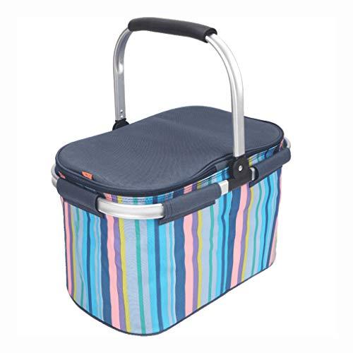 Tragbare Picknicktasche Lunchpaket Isolierte Kühltasche Mahlzeitbehälter 26 L Fassungsvermögen Oxford Wasserdichter Lunchpaket mit Faltfunktion für Mahlzeiten und eine Vielzahl von Lebensmitteln -