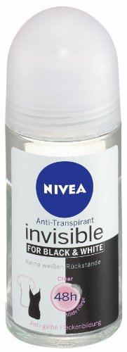 Nivea Deo Invisible Black&White Clear Antitranspirant Roll-On, 3er Pack 3 x 50 ml