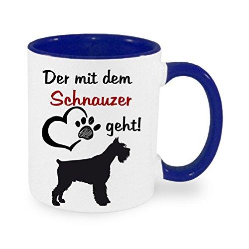 crealuxe Der mit dem Schnauzer geht - Kaffeetasse mit Motiv, bedruckte Tasse mit Sprüchen oder Bildern (blau)