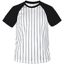 myglory77mall Camiseta de Béisbol a Rayas de Cuello Redondo para Hombre da9039e08a4