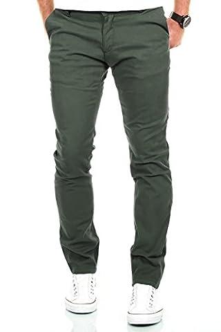 MERISH Chino Stoffhose Slim Fit Herren Figurbetont viele Farben Modell 169 Oliv 31-30