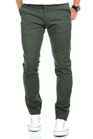 MERISH Pantaloni Chino Slim Fit Uomo Cotone Pantaloni Figura-sollecitato diversi colori Modell 169 Verde Oliva 36-30
