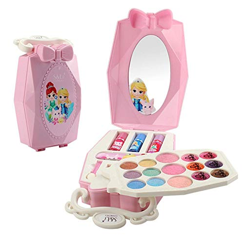 Freedomanoth Kinderschminke Set Schminkkoffer Gefüllt Spielzeug Schminktasche Beauty-Set Für Mädchen Beinhaltet Lidschatten, Polituren, Lipgloss, Rouge, Pinsel Und Nagelfeile
