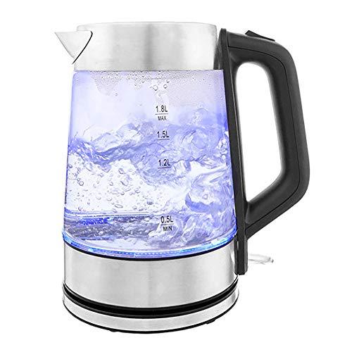 LIGHTOP Glas Edelstahl Wasserkocher 1500 W 1,9 L integrierter Kalkfilter automatische Abschaltung...