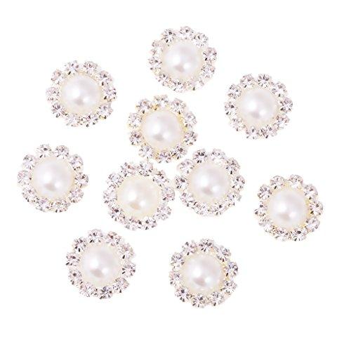 Gazechimp 10 Knöpfe Künstliche Perle Flatback Verzierung 13mm