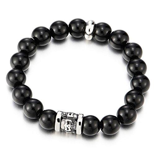 10MM Herren Damen Schwarz Onyx Armband aus Perlen mit Schädel Charm aus Edelstahl (Und Charms Schädel-perlen)