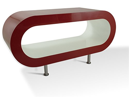 Zespoke Design Rouge Blanc Rétro Moyenne 90cm Cerceau Table Basse/Meuble TV Les Pieds