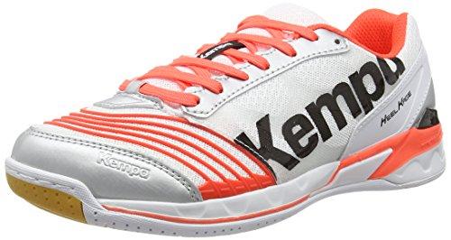 Kempa  ATTACK TWO WOMEN, Chaussures de handball femmes Multicolore - Mehrfarbig (weiß/fluo rot/silber)