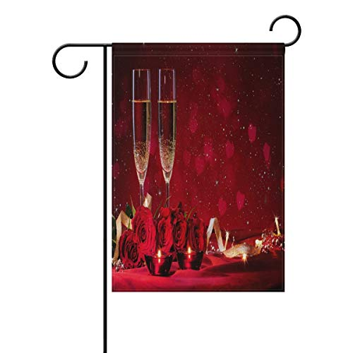 ASKYE Polyester Garden Flag Valentines Red Rose and Champagne House Banner for Wedding Party Outside Garden Yard Double Side Print(Size: 12.5inch W X 18 inch H) American Champagne