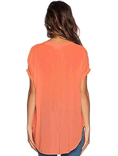 LAEMILIA Tops T-Shirt Femmes Blouse Eté Manche Courte Casual Chemise Sexy Col V Mousseline de Soie Elégant Uni Shirts Hauts Orange
