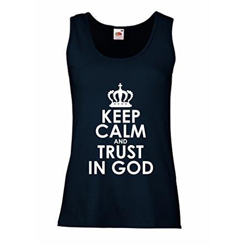 lepni.me Damen Tank-Top Vertraue Gott! Jesus Christus Liebt Dich - Ostern - Auferstehung - Geburt Christi, Christliche Kleidung (X-Large Blau Weiß)