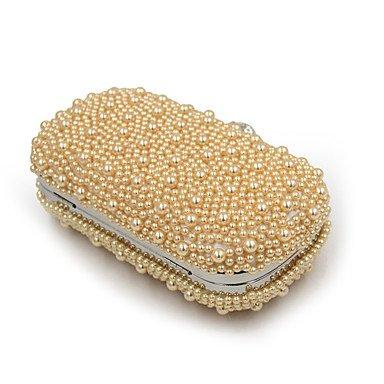 Frauen elegante Hochwertige Luxus künstlichen Perlen Abendtasche White
