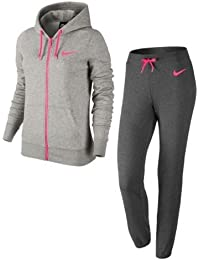 Nike Club FT Tracksuit–Chándal, mujer, Club FT Tracksuit, Dunkelgrau/Heidekraut/Hyper Pink, medium