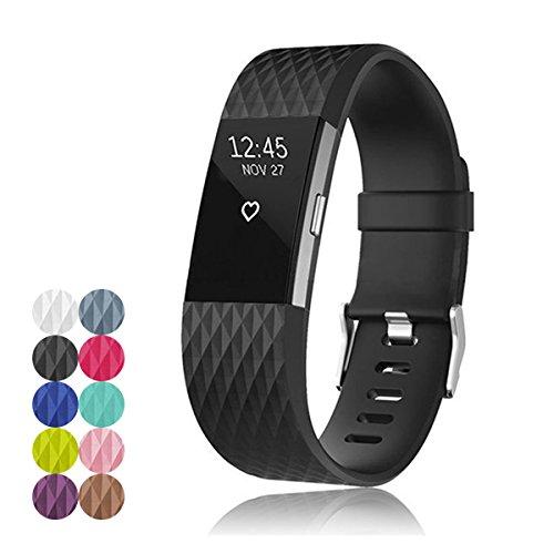 Foto de Yefod - Correa de repuesto de silicona suave para Fitbit Charge 2, que monitoriza la frecuencia cardíaca y la actividad, color negro