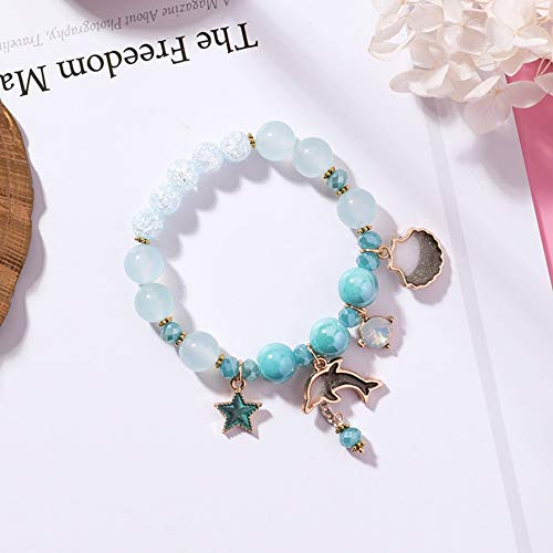 Armband,Naturstein Perlenbesetztes Süßes Ozeanfeiertagswinddelfin-Muschelarmband, Kleiner Frischer Schmuck Der Mode Blauen Kristallexplosions-Blumenkristallarmbänder, Personifizierte Kleidungszusätze
