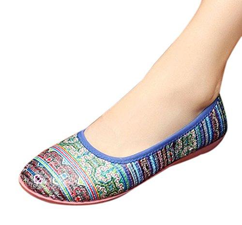 Insun Damen Bohemian Slipper Halbschuhe Schuhe Blau