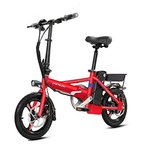 Bici elettriche Pieghevole Bicicletta Elettrica Ultra Leggera Piccola Batteria Carrozzeria per Adulti Alluminio Auto Elettrica, Vita Elettrica 80-100 Km (Color : Red, Size : 123 * 60 * 98cm)