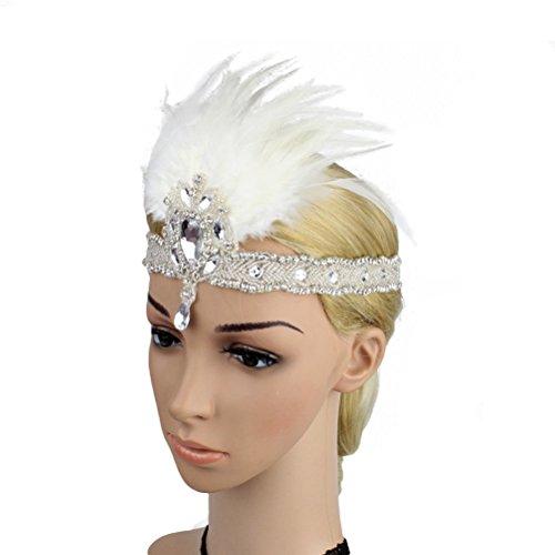 Fenical Damen Pfau Feder Flapper Stirnband Haarband 1920s Elastisch mit Strass für Party Hochzeit Burlesque Kostüm Accessoire - Weißes Burlesque Kostüm