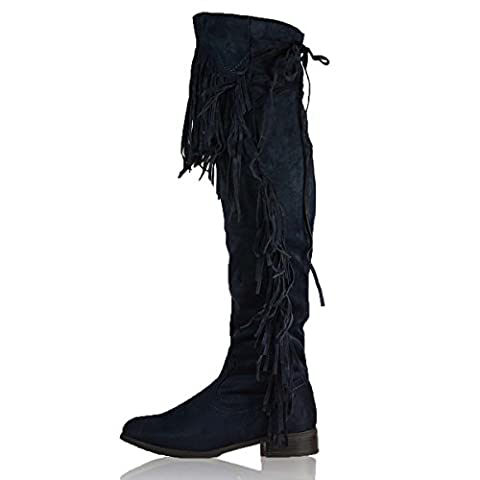 New Ladies Over the Knee Fringed Boots Womens Thigh High Tassel Low Heel Boots Work Winter Western Riding Flat Shoes Size UK 3-8 (UK 4, Dark Blue)