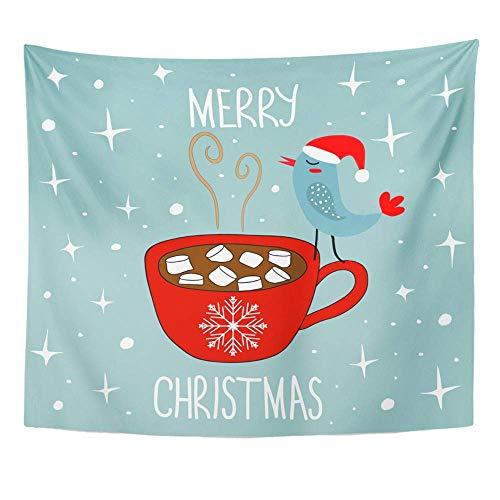 Tapicería Tela de poliéster Imprimir Decoración del hogar Doodle Feliz Navidad Chocolate candente Cacao Melcochas Kawaii Pájaro Tapiz para colgar en la pared Dormitorio Sala de estar Dormitorio
