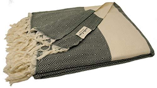 Baumwolle Plaid Khaki (bella casa ELMAS Tagesdecke Bettüberwurf Überwurf Plaid Baumwolle 205x260 cm (Khaki))