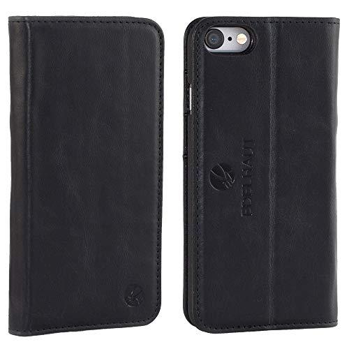 EDELHAUT Handytasche mit unsichtbarem Magnetverschluss in schwarz für Apple iPhone 7 und 8 4.7 aus echtem Leder Schwarz Leder Iphone