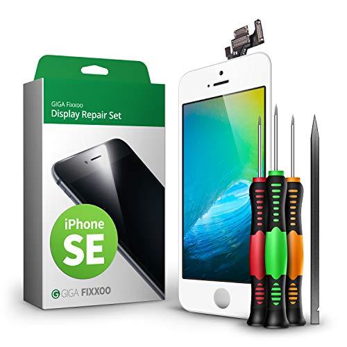 GIGA Fixxoo Display Set kompatibel mit iPhone SE, Reparaturset Komplett Weiß, Ersatz Bildschirm, Retina LCD Glas mit Touchscreen, inkl. integrierte Frontkamera & Werkzeug -