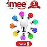 IMee 0.5 Watt Multicolour Assorted Pack Of LED Night Bulb, Pack Of 06, Nickel Plated B22 Aluminium Base, Assorted Mix Colour Lamps
