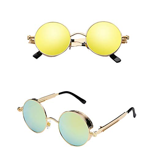 Dkings Fahren Polarisierte Sonnenbrille Metallrahmen Ultraleicht, 80er Retro Klassiker Trendy Stilvolle Sonnenbrille für Herren Damen, Runde Sonnenbrille für Damen Vintage Kleine Spiegelbrille (A)