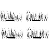 Delicacydex 4PCS / Set Lightweight Natural Thick Eye Lashes 3D Magnetic Handmade Durable Women Thick False Eyelashes Tool 001 - Negro imán único
